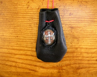 """Skull Cross, Black Leather pouch with a glass charm, 40"""" long beaded, adjustable hemp cord, pouch is 3.5"""" x 2.5"""""""