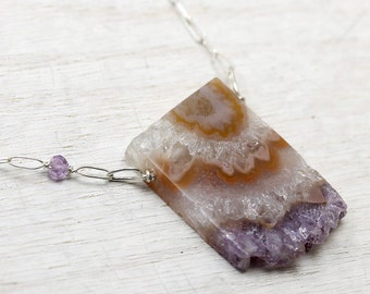 Rough natural amethyst slice necklace in sterling silver