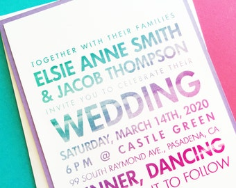 Watercolor Ombre Wedding Invitations, Wedding Invites, Wedding Invitation Suite Set, Custom Colors Modern Wedding Invitation