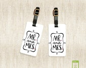 Personalized Luggage Tags Mr. and Mrs. Metal Luggage Tag Set Personalized Printed with Address Message or Quote Printed FULL Metal Tags