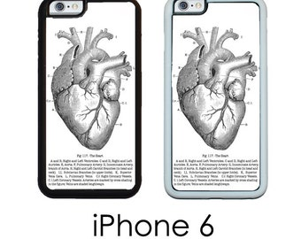 iPhone 6S 6 or PLUS Heart Medical Chart Vintage  Medical Chart Anatomical Heart Case Your Choice of Trim Hard, Rubber or Tough Cases