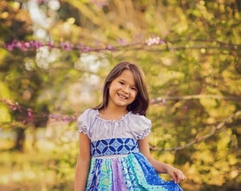 Blue & Lavender Boho Printed Twirl Dress - Ruffles - Girls - Spring - Birthday - Party - Celebration - Special Occasion - Holiday - Photos