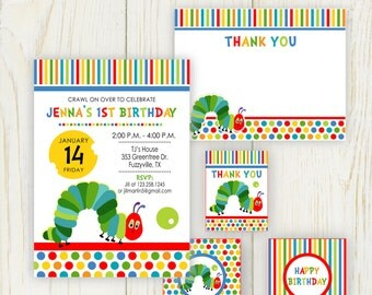 Caterpiller Birthday Party Invitation - digital files - 4 pcs
