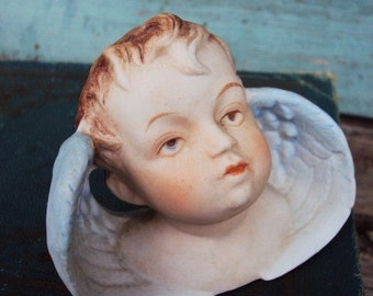 Antique Porcelain Bisque Doll Angel Cherub Baby Wings Figurine German Piano Baby Head Bust