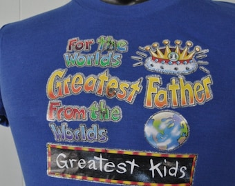 Near Burnout Vintage Greatest Dad from Greatest Kids Xmas gift father TShirt Glitter Tee Royal Blue Retro SMALL