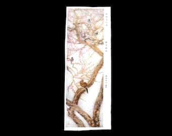 Vintage Japanese Print Flowers Peach Blossoms Birds Painting Magazine Cut Out Small Size 8.7 cm x 23.5 cm