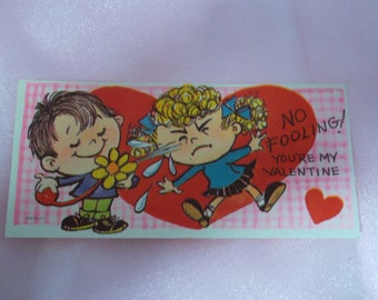 """Vintage 1970's  """" No Fooling! You're My Valentine"""" Juvenile  Valentine's Day Card"""