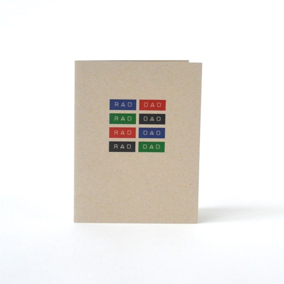 Father's Day Card - Rad Dad - Recycled Blank Greeting Card for Father - Card for Dad - Card for Daddy - Thanks Dad Card - Thank you
