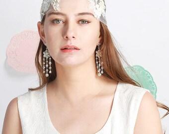 Kaylie Bohemian Bridal Headpiece, Rustic Boho Wedding Veil, Bridal Headband Veil, Garden Wedding Tulle Headband Ivory Flower Lace & Pearls