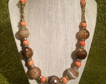 Brown Faceted Agate and Peach Dyed Howlite Necklace with Gold and Rhinestone Accents