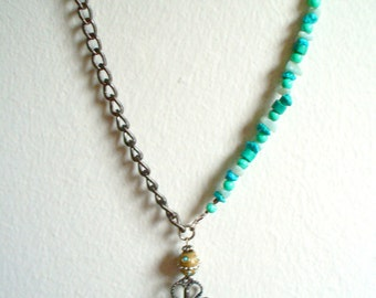 Turquoise necklace, dragonfly necklace, Wiccan necklace, free shipping in the U.S.