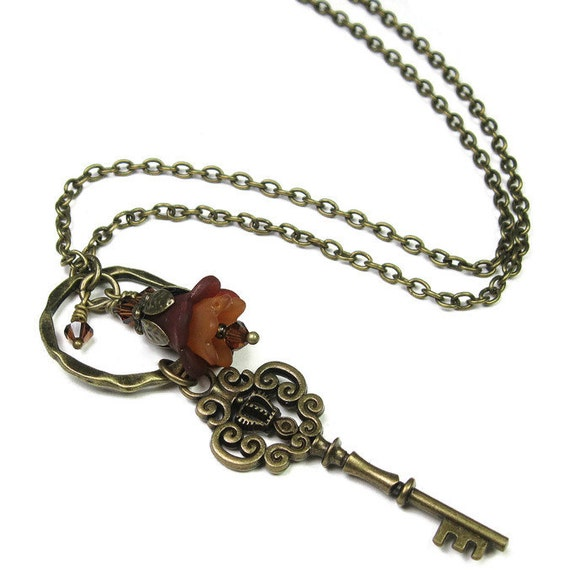 Key Necklace, Victorian Style Necklace, Vintage Style Skeleton Key Necklace, Romantic Jewelry, Tan, Brown, Swarovski Crystal, Antiqued Brass