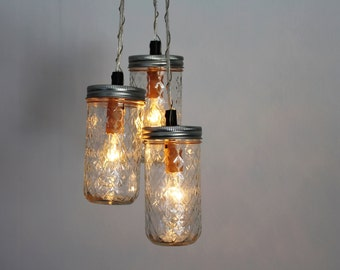 SPARKLER Mason Jar Chandelier - BootsNGus Upcycled Hanging Pendant Lighting Fixture Featuring 3 Quilted Pint Jelly Jars - Rustic Home Decor