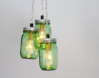 SHAMROCK Mason Jar Chandelier - BootsNGus Upcycled Hanging Pendant Lighting Fixture Featuring 3 Green Pint Jars - Modern Rustic Home Decor