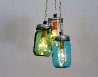 Ocean Glass MASON JAR CHANDELIER - BootsNGus Upcycled Hanging Pendant Lighting Fixture Featuring 3 Pint Jars - Modern Rustic Home Decor