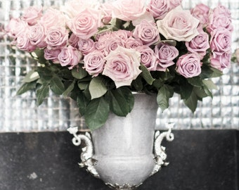Paris Roses Photograph - Roses in an Urn, French Decor Photograph, Romantic Home Decor, Large Wall Art