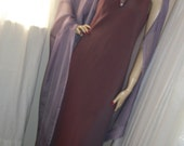 Treasury 1930s Style Gown Pale Plum with Matching Sheer Shawl and Art Deco Brooch Size Med 8/10/12 Exec Cond Cut on Bias