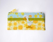 """Zipper Pouch, 4.5x9.25"""" in Yellow, Blue, White and Green Polka dots and Flowers with Handmade Felt Duck Embellishment, Duck Pencil Case"""