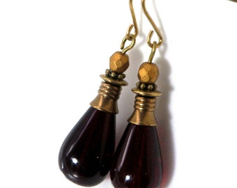 Red Czech glass and brass earrings, Red czech glass drops, vintage glass drops, Downton Abby earrings