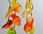Fall fashion accessories seaglass style lampwork glass earrings autumn leaf jewelry in fall foliage colors frosted glass leaf dangle earring