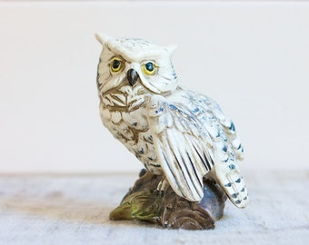 Vintage Owl Figurine, White Ceramic
