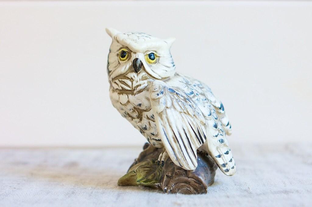 Vintage Owl Figurine White Ceramic