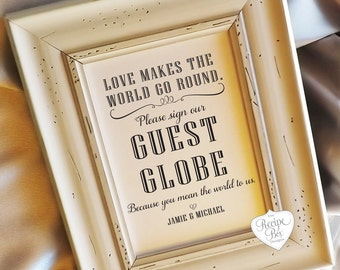 Alternative Guest Book Sign, Wedding Sign, Guest Globe Sign, Table Sign