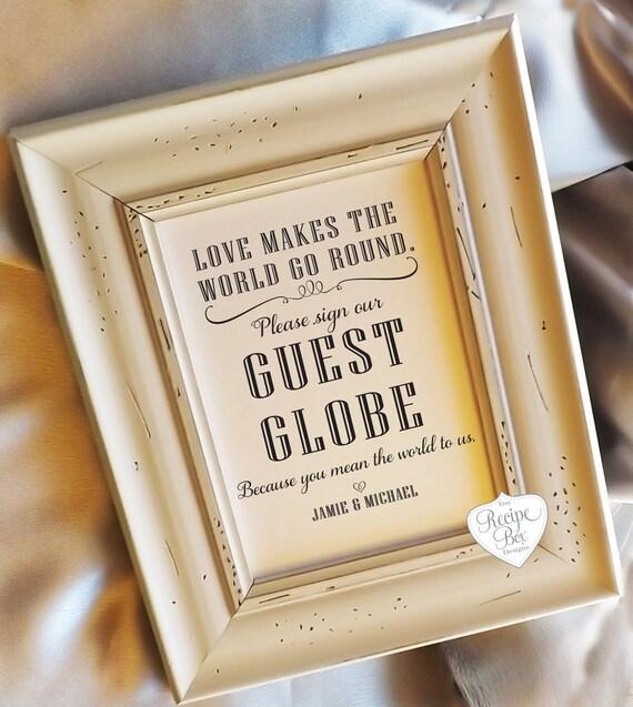 Alternative Guest Book Sign Wedding Sign Guest Globe by RecipeBox
