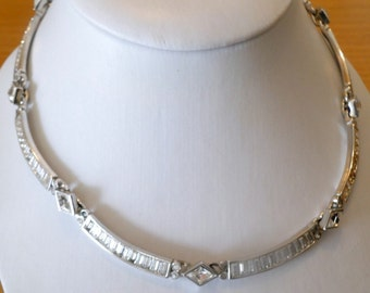 A S Attwood & Sawyer Crystal Silver Glam Necklace