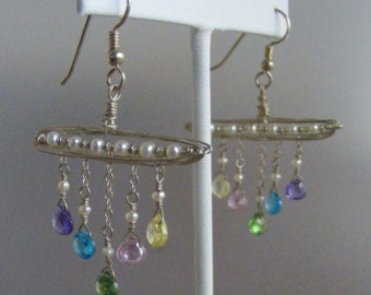 Pretty Pastels:  Multicolor CZ and Salt Water Pearl Earrings