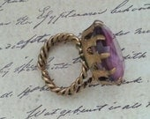 Vintage West Germany Brass Ring with Purple Tiger Striped Glass Stone