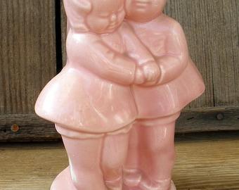 Vintage 1940s-50s BEST FRIENDS Pink Pottery Mid-Century Figurine Planter Vase
