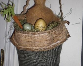 Primitive  Bunny Rabbit Door Hanger Basket