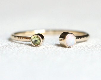 Delicate Solid 14k Gold Dual Birthstones Ring - One Natural AAA Opal - Open Cuff - Toi et Moi Unique Stacking Ring - October