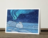 White Rabbit Christmas Card - Snowshoe Hare and Northern Lights illustration