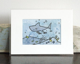 Shark Nursery Illustration Print, Ocean art for kids room, whimsical underwater art