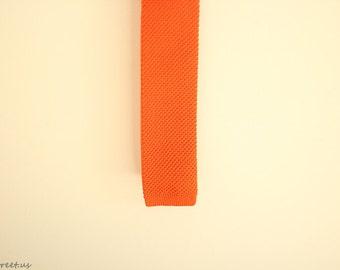 Orange Knit Tie, Minimalist Tie, Skinny Knit Tie, Knitted Tie, Modern Tie, Geeky Tie, Men Wedding, Bright Ties, Men Ties