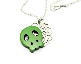 Green Sugar Skull Necklace, Silver Filigree Necklace, Monster Necklace, Howlite Skull Necklace, Green Skull