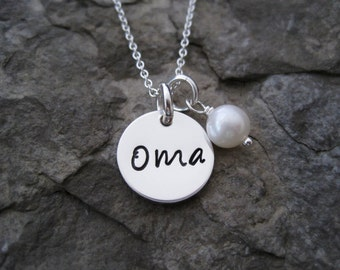 """1/2"""" Sterling Silver Oma Necklace - Oma Charm - Gifts for Oma- Oma Jewelry- Oma Pendant - Christmas Present for Oma"""