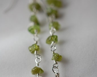 REDUCED from 20.00 Chalcedony briolette & Peridot gemstone earrings. Sterling silver, wire wrapped, Chalcedony briolette, August birthstone.