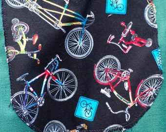 Art smock, waterproof craft apron, long sleeves, school child age 9 to 12, Push bikes.