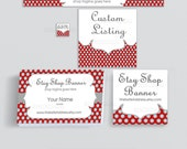 Etsy Shop Banners - Branding Package - Etsy Banners - Advance Startup Branding Set W/ Business Card and Label Designs - Polka Dots 3 Bundle