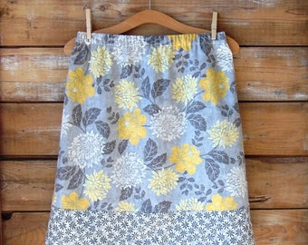 Floral Cotton Skirt, A-Line Skirt, Women's Skirt - Size 10, Spring Skirt, Grey and Yellow Floral Skirt, Summer Skirt, Cotton Skirt