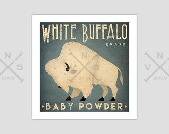 White Bison White Buffalo Nursery Graphic Art Illustration Print Signed