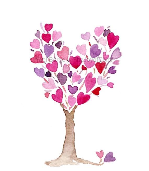 Coeur Violet Rose Arbre Art Print De Jour Par