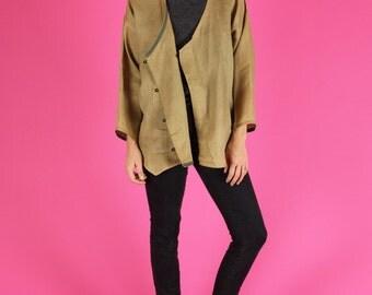 Tan Brown Linen Cardigan Top - M / L