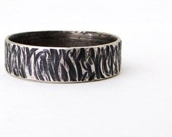 Men's Wedding Band Good Vibrations Silver Wedding Ring Rustic Wedding Band