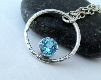 Blue Topaz Necklace Silver Circle Necklace Silver Orbit Necklace December Birthstone Gift for Her Mother's Necklace