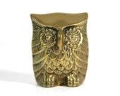 Small Vintage Brass Owl