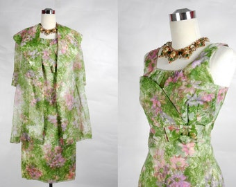 1950's Vintage Floral Chiffon Shelf Bust Wiggle Dress and Jacket
